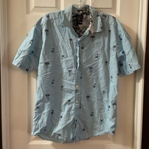Volcom Blue Palm Tree Short Sleeve Button Down M